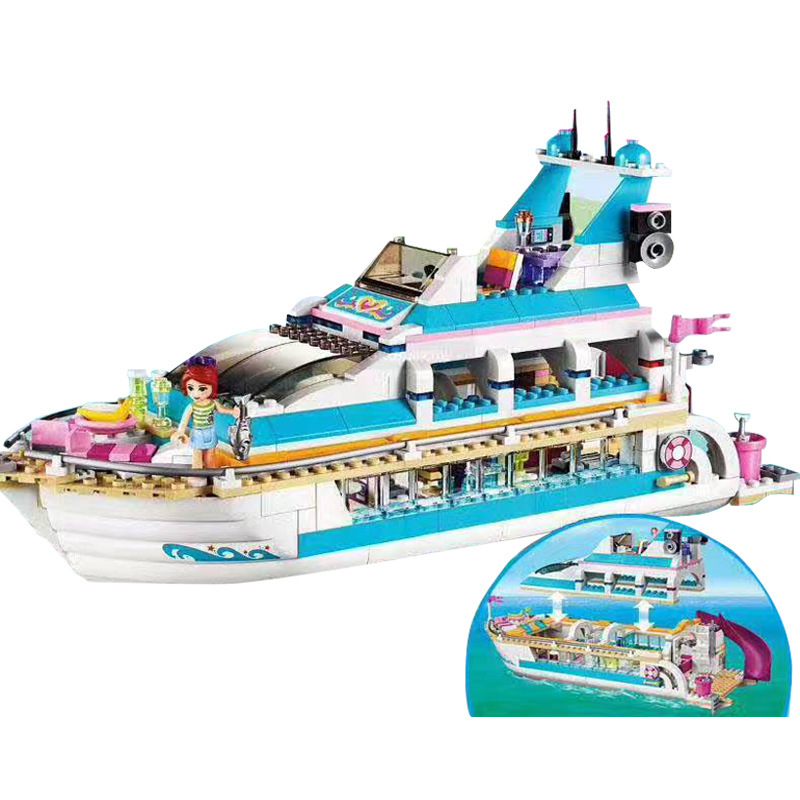 Lepin 01044 Friends Girl Series Dolphin Cruiser Set Model Building Blocks Bricks Children Educational Toy Gift Lepin Friends lis 10172 bela friends girl dolphin cruiser vessel ship building blocks big set compatible with gift bricks kid toy