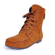 Plus Size 34-43 Autumn and winter women boots wild flat leisure women snow boots Martin boots leather ankle flats shoes 45