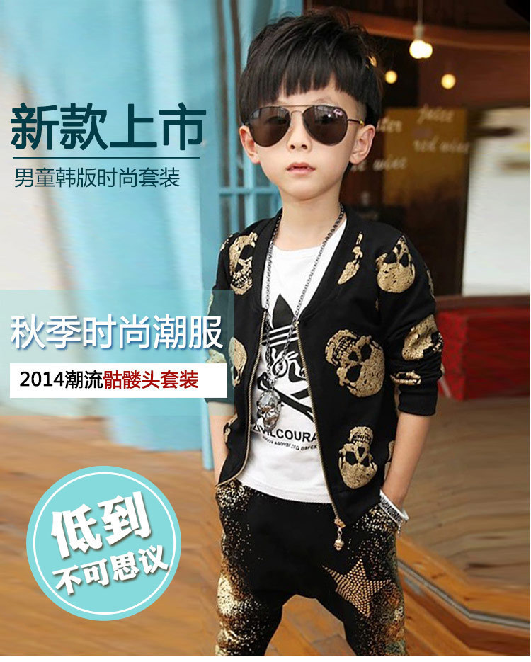 New Fashion Skull Heads Printed Kids Baby Boys Suits Clothes Set