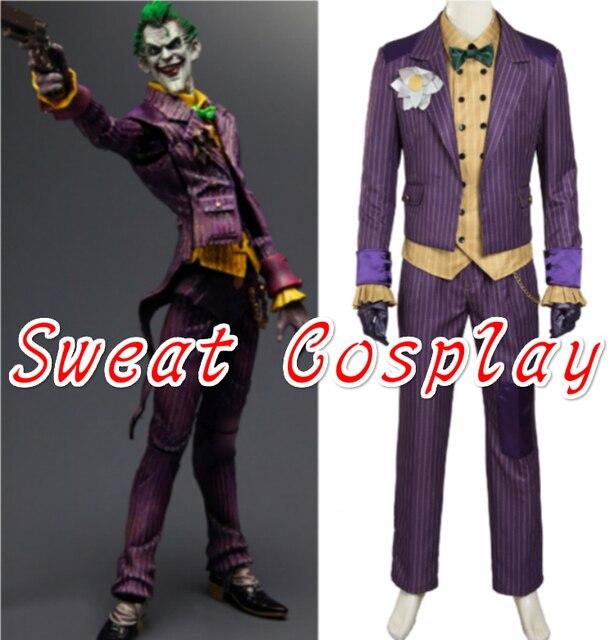 hochwertige batman kostum joker kostum batman arkham ritter joker cosplay mit blume brosche halloween cosplay kostum