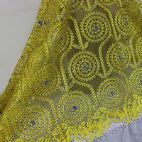 Free shipping! Latest high quality tulle net  lace Fabric/beautiful gold color net lace