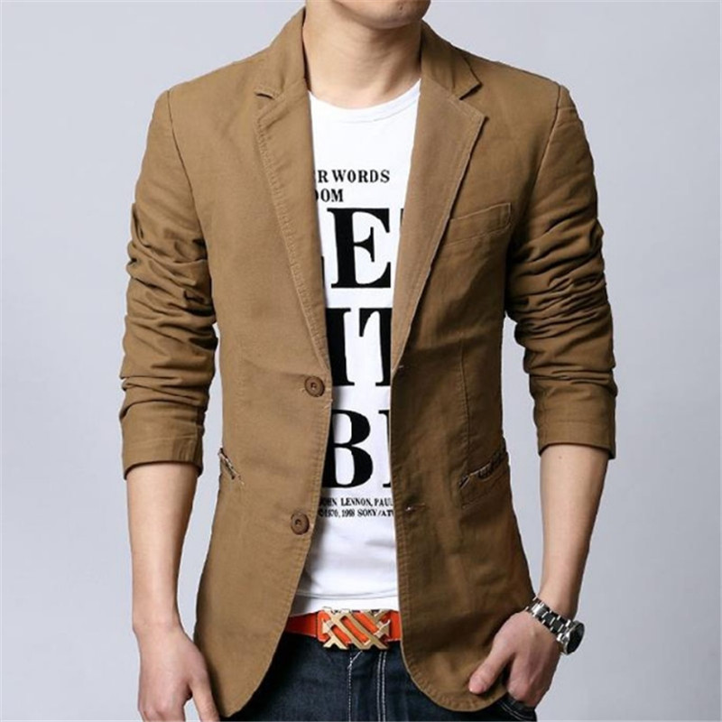 Male blazer spring new autumn male leisure suit slim cotton plus size outerwear fashion Korean style black khaki Blazer