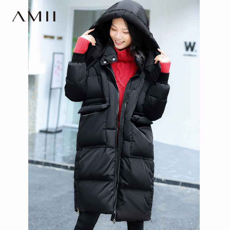 Amii Women 2018 Original Design Winter 90% White Duck   Down     Coat   Hoodies Knee Length Female Fashion Light Jacket   Coats