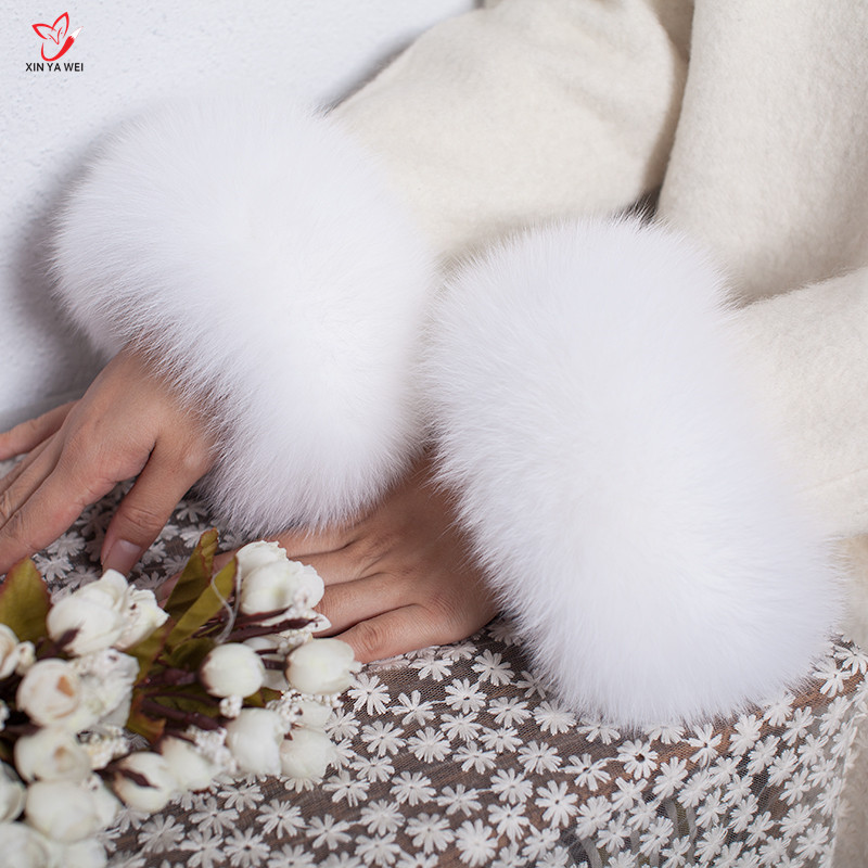 Manchettes de fourrure de renard de haute qualité offre spéciale chauffe-poignet véritable fourrure de renard manchette bras plus chaud dame Bracelet véritable fourrure Bracelet gant HY83L - 4