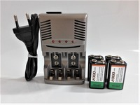 4PCS 9V 6F22 2000mAh NiMH Rechargeable Battery + 9V AA AAA Smart Charger with LED Indicator