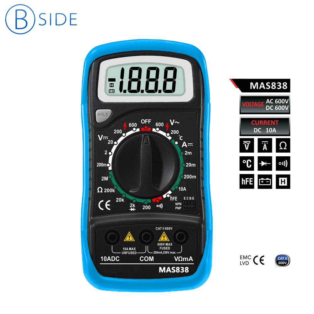 BSIDE Mini Handheld MAS838 2000 Counts LCD Digital Multimeter Voltage DC Current Resistance Tester with Temperature&Protectcase