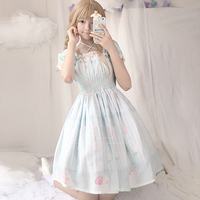 Lolita Girls Ice Cream Stories Theme Dress Lantern Sleeve Dress Women's Light Blue High Waist One Piece Dress