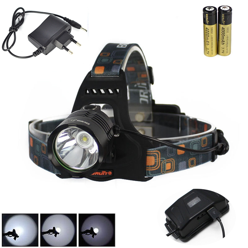 Boruit 2500LM XM-L2 LED Headlight Headlamp Head Torch USB Lamp+AC Charger+2X18650 Battery Camping Fishing Cycling Rock Climbing boruit b17 led headlamp 10000lm 3 led xm l2 rechargeable headlamp fishing 4 modes camping head lamp cycling headlight flashlight