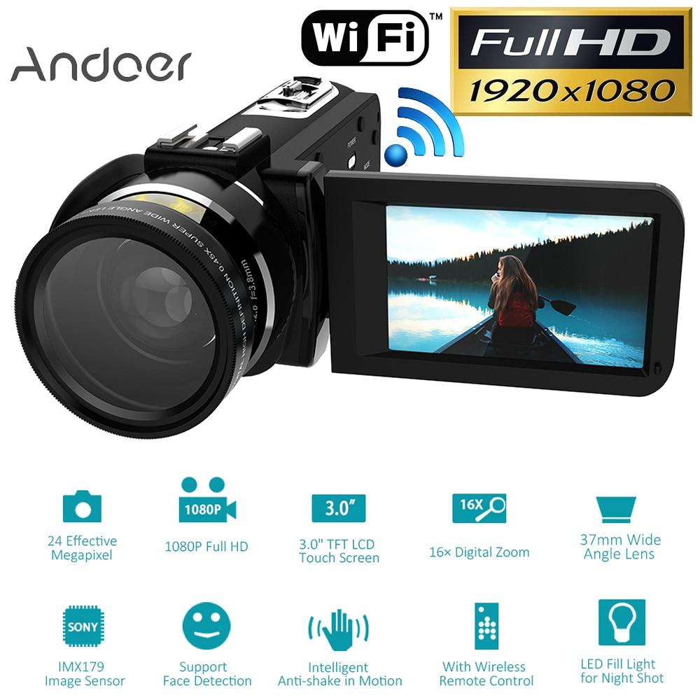 Andoer HDV-Z20 Digital Video Camera Portable 1080P Full HD W/Lens Max 24 Mega Pixels 16x Zoom Remote Control Support WiFi