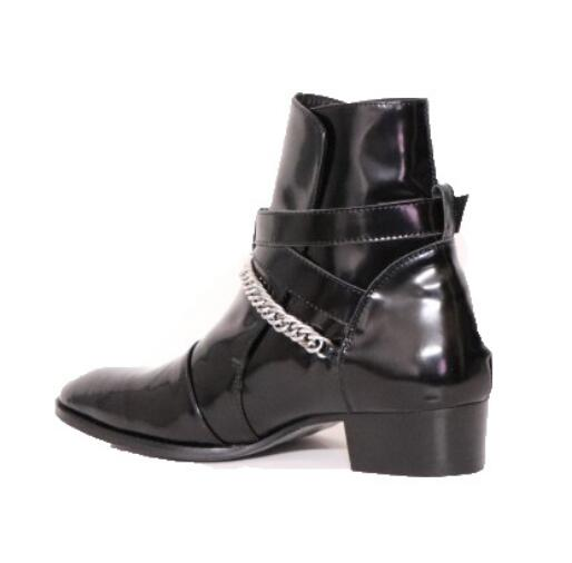 Fivela Sapatos Calcanhar 30mm De Chelsea As Genuína Lateral Zíper Cruz 1 Couro Botas Homens Fr Casamento Preto Mujer 2019 Showed Zapatos Lancelot wa6AAz