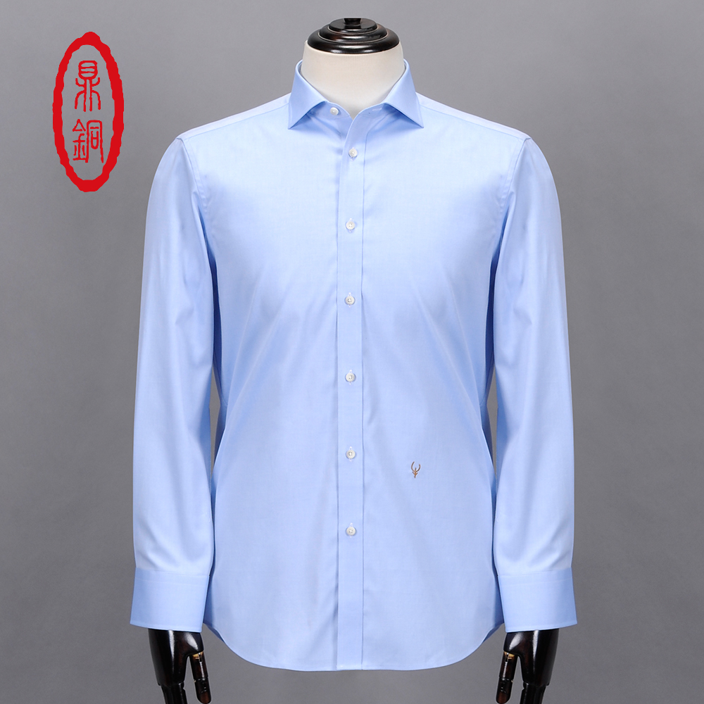 Dingtong mens cotton dress shirts custom tailor fit solid for Tailor made dress shirts