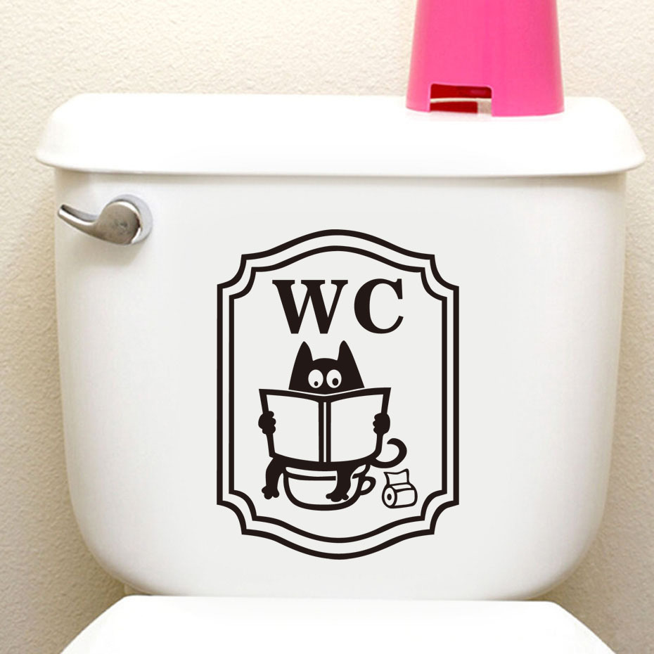 Funny Toilet Sign Wall Sticker Cartoon Cat Reading In WC For Office Bathroom DIY Toilet Door Stickers Vintage Home Decor