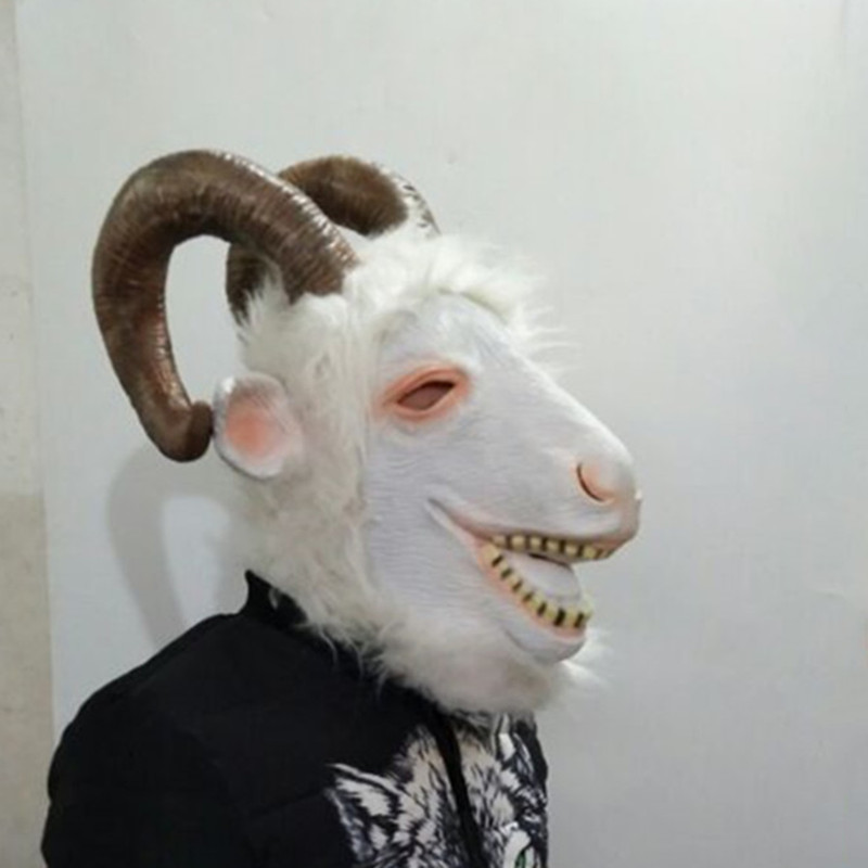 Latex Animal Overhead Hoofed Rocky Mountain Goat Props Stag Halloween Party Mask