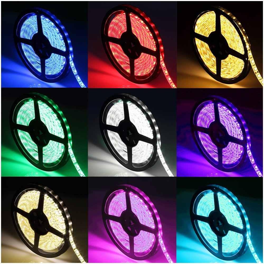 Водонепроницаемый 12 в 24 В Светодиодная лента 5050 RGB RGBW rgbww белый 60 светодиодный/м Диодная лента-тесьма со светодиодами светодиодный светильник украшение для дома праздник 5 м