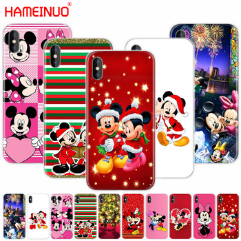 HAMEINUO Mickey Minnie Mouse Christmas new Year Cartoon cell phone Cover case for iphone X 8 7 6 4 4s 5 5s SE 5c 6s plus
