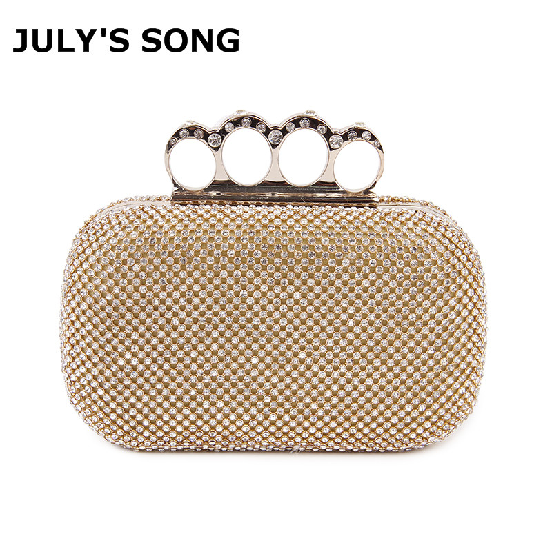 Crystal Evening Bag Clutch Bags Clutches Wedding Purse Rhinestones Wedding Handbags Silver/Gold/Black Finger Ring Evening Bag