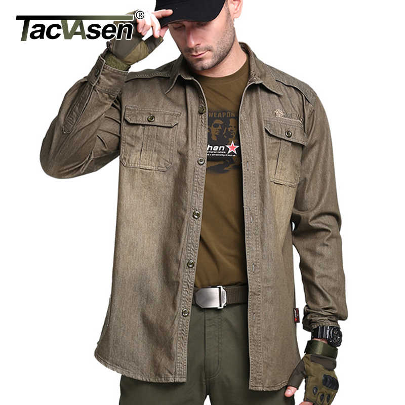 40f988125298 TACVASEN Men s Brand Tactical Shirt Breathable Cotton Long Sleeve Shirt Men  Military Style Shirts Casual Clothing
