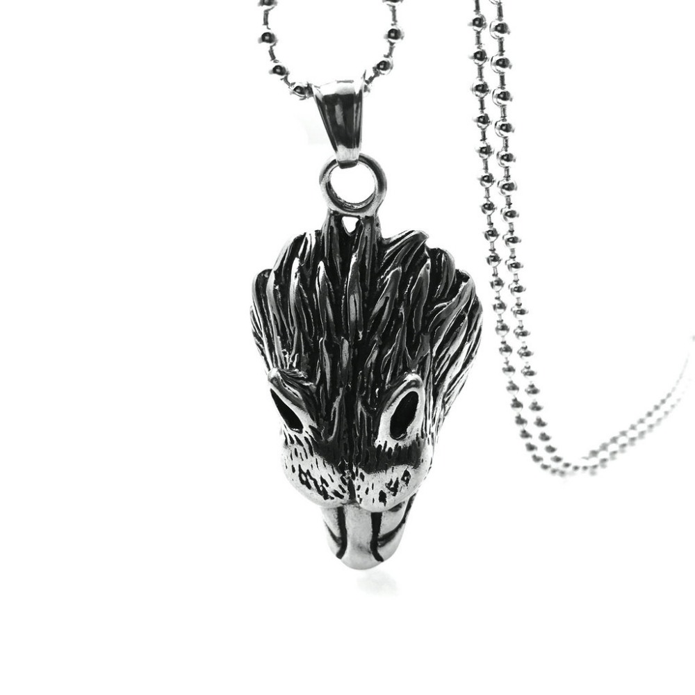 Stainless Steel Wolf Head Necklace Pendant for Men Hip Hop