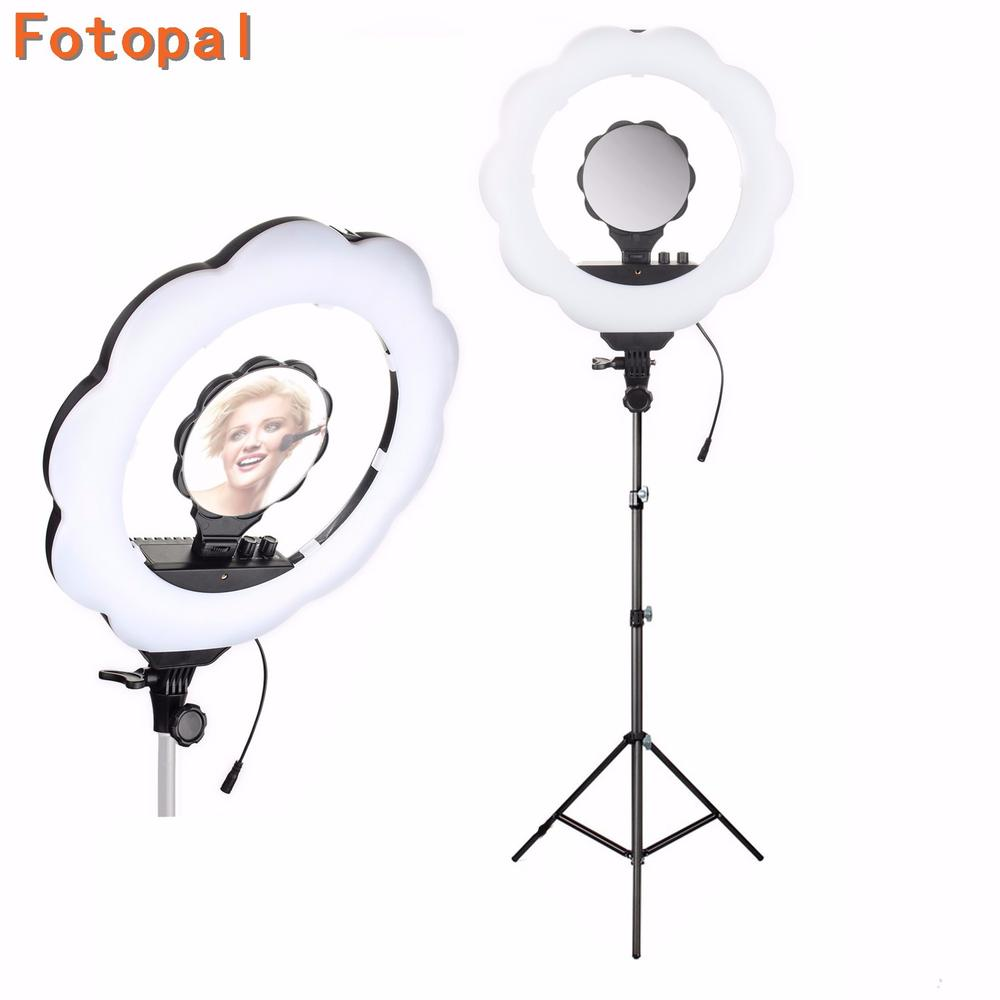 DHL ES384 LED 2700 Lumens 3000K 6000K LED Ring Video Light Photography Dsr Camera Annular Lamp with Makeup Mirror&Tripods