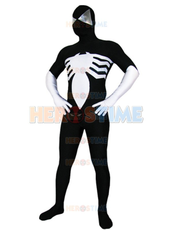 Black Vemon Symbiote Spider-Man Costume Spandex fullbody superhero Zentai Suit Halloween Cosplay Spiderman Costume Free Shipping