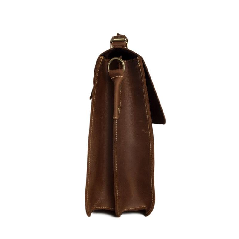 ROCKCOW Мъжки кафяви плътни кожени 15 - Чанти за документи - Снимка 3
