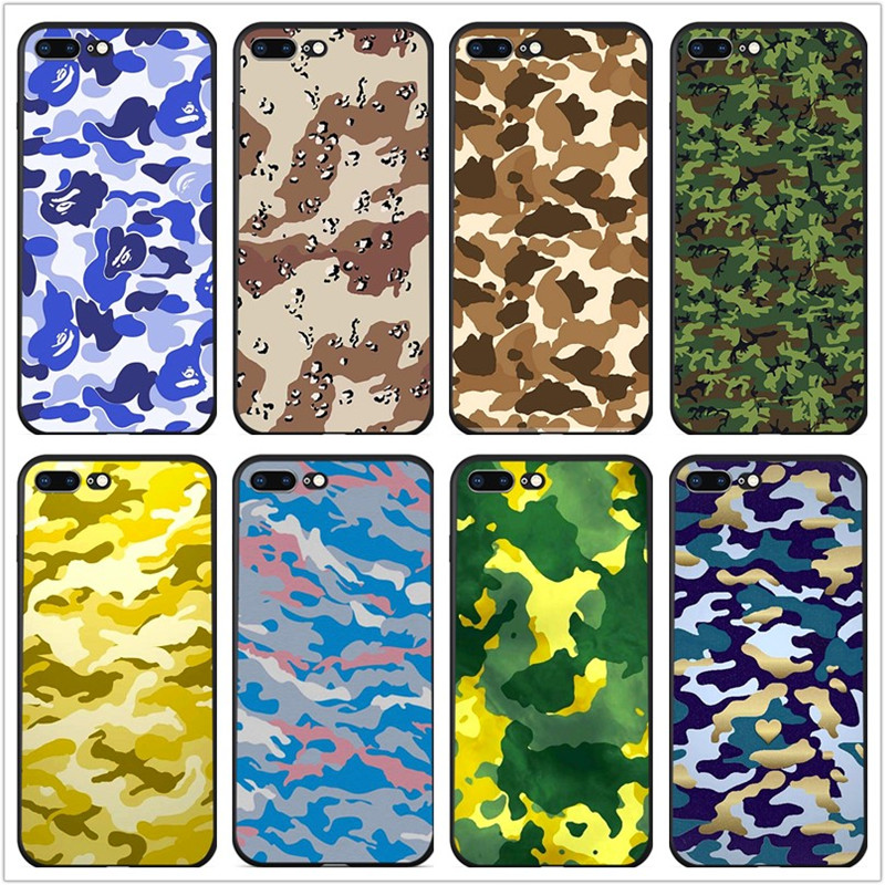 IMIDO Army Green Camouflage patterned Soft black silicone Coque Cover For iPhone 8 7 6 6s plus XS max XR X 5 5s SE phone case