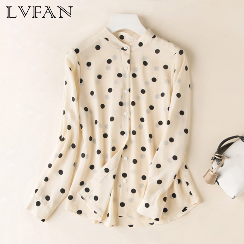 New silk temperament comfortable fashionable joker blouse female Straight type Wave Dot Shirt Soft silk dress