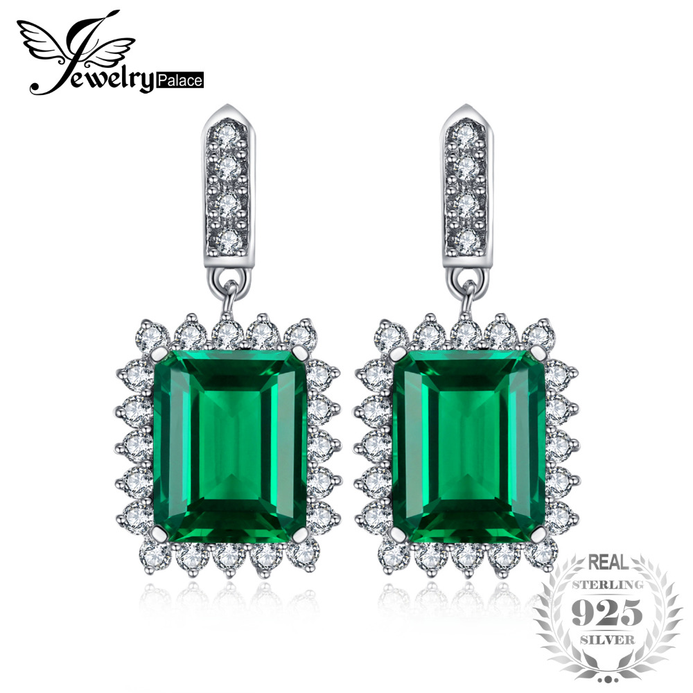 JewelryPalace Luxury 10.8ct Created Emerald Dangle Earrings Solid 925 Sterling Silver Earring for Women Fine Jewelry цена