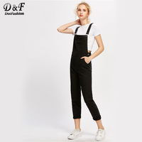 Dotfashion Woman Black Ripped Rolled Hem Denim Dungaree 2017 Strap Sleeveless Pocket Bottoms Autumn Jumpsuit