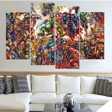 Framework Pictures Modern Canvas Home Decoration 4 Panel Marvel Comics HD Printed Painting Wall Art Modular & Buy marvel wall art and get free shipping on AliExpress.com