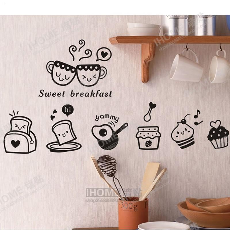 US $8.93 13% di SCONTO|Dolce Colazione! cucina wall sticker decal colazione  Frigo Adesivi Per Piastrelle A Parete per la Decorazione Della Cucina ...