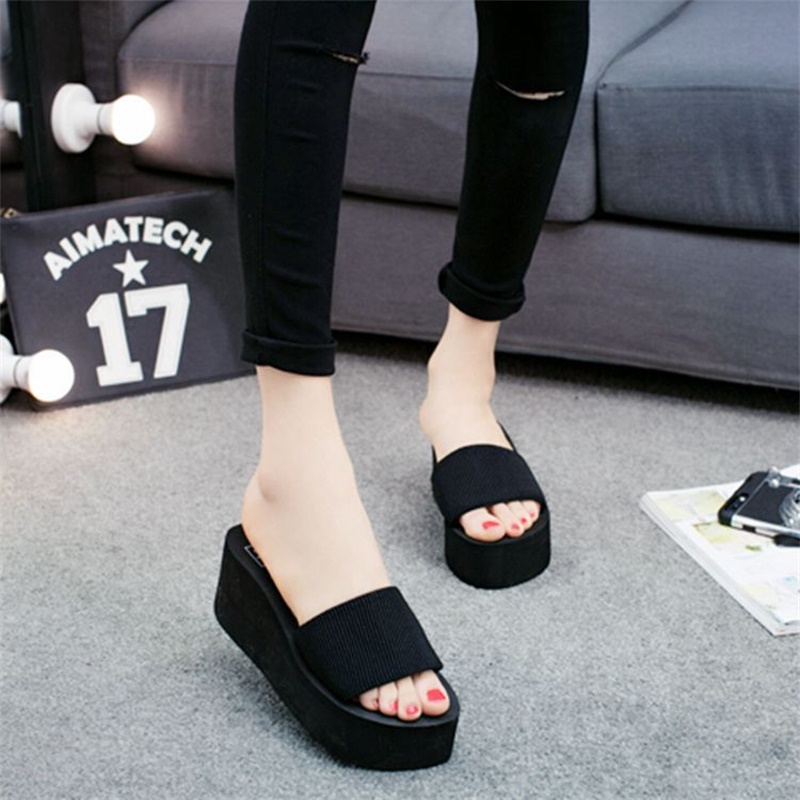 Women Strech Fabric Slippers 2018 Soft Womens Beach Slides Outside Platform Wedges Slippers Ladies Shoes 145
