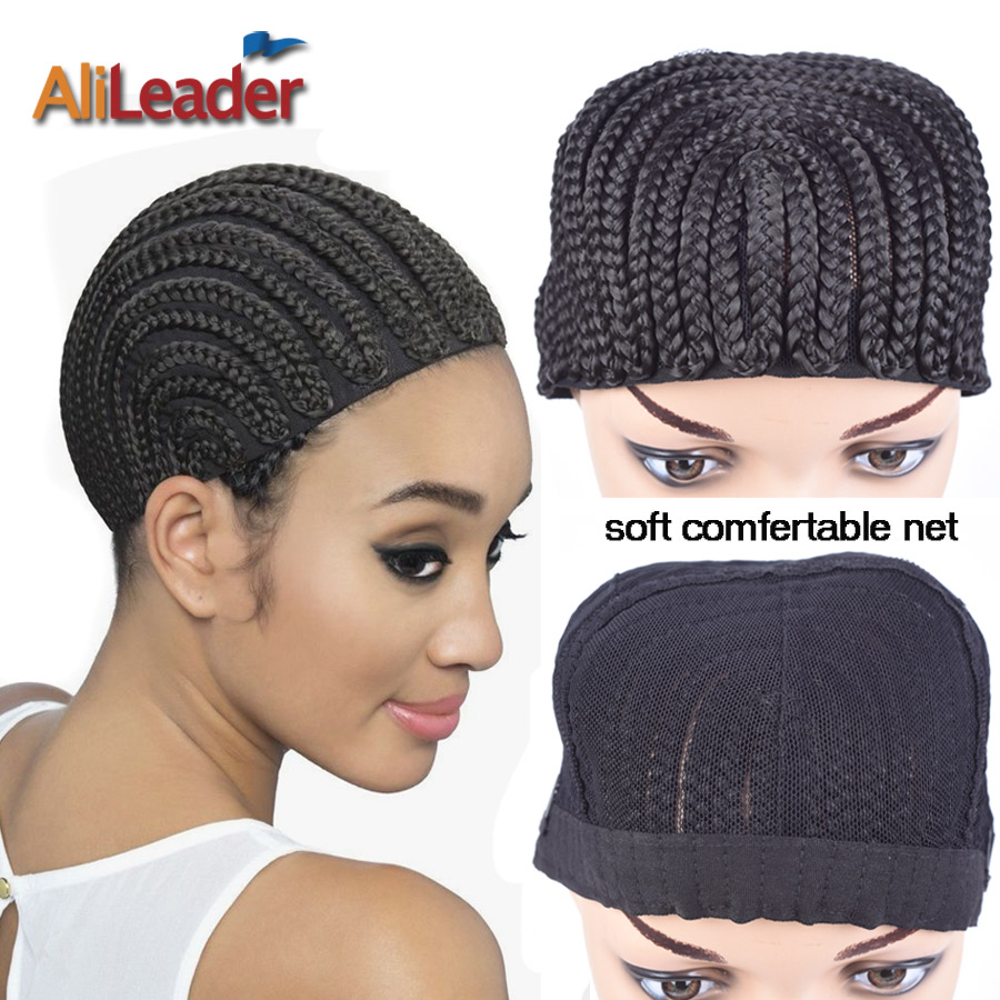 Good Cornrows Cap For Easier Sew In Braided Wig Caps Crotchet Black Color Crochet Braids Wig Cap Weave Cap For Making Wig