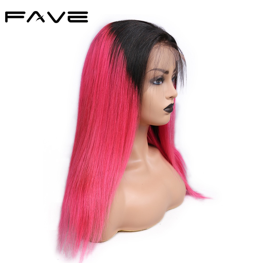 FAVE 13*4 Lace Frontal Ombre Wigs Brazilian Remy Straight Human Hair Wigs Mix Color With Baby Hair Pre Plucked Natural Hairline