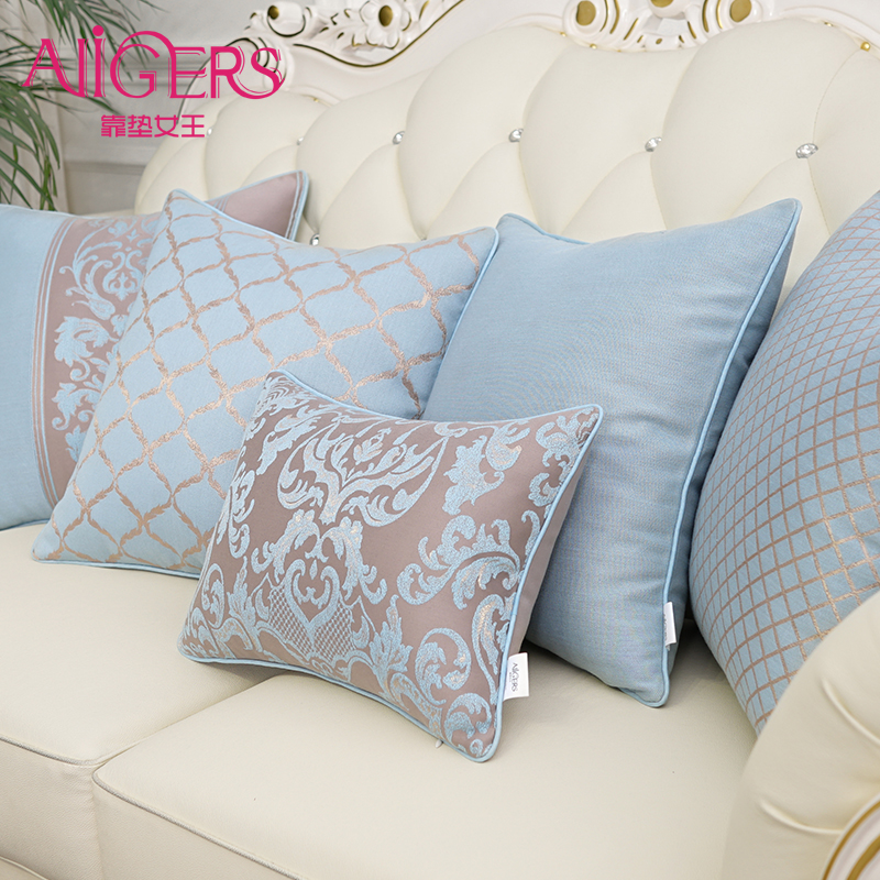 Avigers Luxury Silky Cotton Cushion Cover European Embroidery Pillow Cover Floral Pillow Case Home Decorative Sofa Throw Pillow