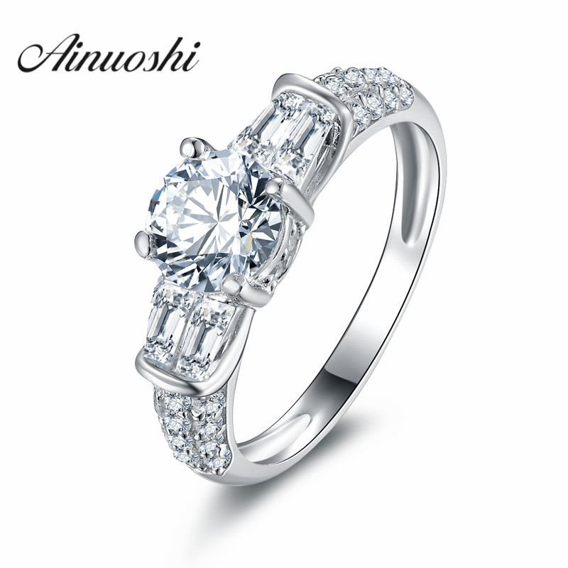 AINUOSHI Solid 925 Sterling Silver Women Wedding Rings 1
