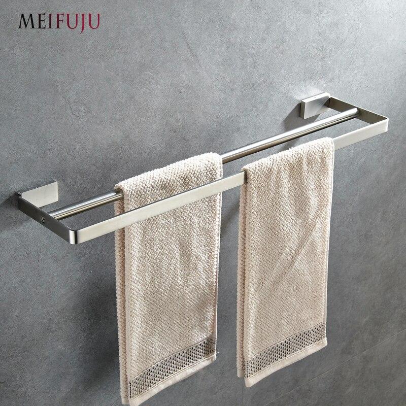 MEIFUJU Solid SUS304 Stainless Steel Towel Bar Bathroom 304 Brushed Double Towel Rail For Bathroom Single Bar Holder Rustproof