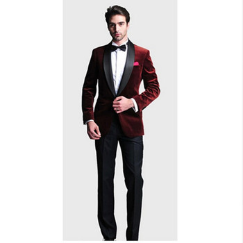 Fashion One Button men suit Dark Red Velvet Groom Tuxedos Groomsmen Men's Wedding Prom Suits Bridegroom(Jacket+Pants+Bow Tie)