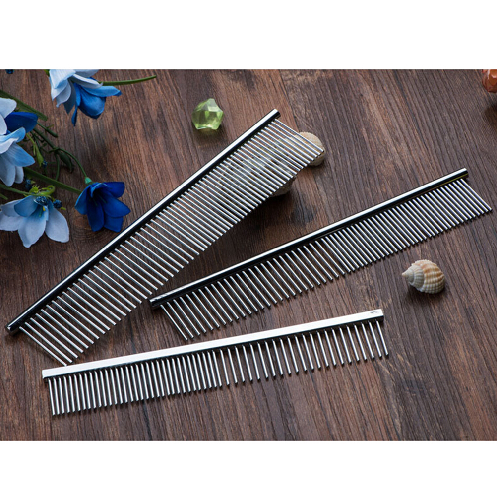 Hot Sale Stainless Steel Pet Hair Trimmer Combs Puppy Cat Cleaning Brush Pet Shedding Grooming Asymmetric Dog Long Hair Comb