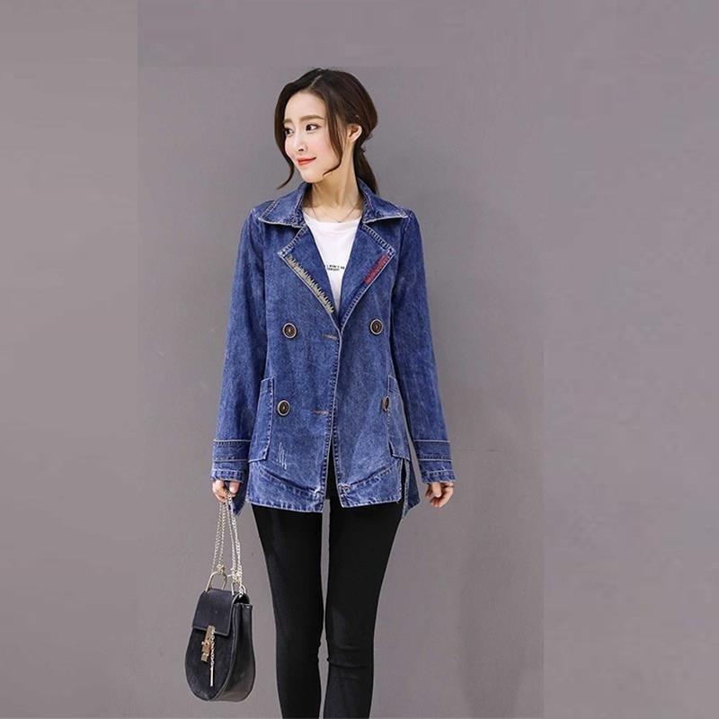 fa500c50e42 2019 2018 Atumn Spring New Women S Denim Trench Slim Jeans Top ...