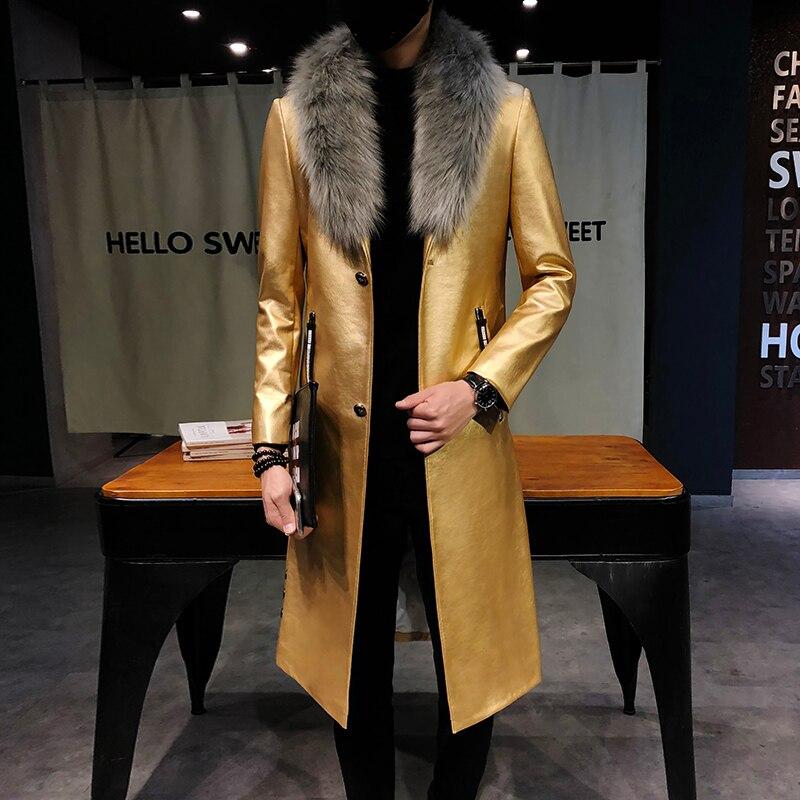 2018 Mens Black Leather   Trench   Coats Big Fur Collar Long Men Overcoats Luxury Veste Long Homme Gold Long Coats Slim Fit Elegante