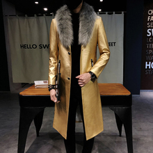 2018 Mens Black Leather Trench Coats Big Fur Collar Long Men Overcoats Luxury Ve