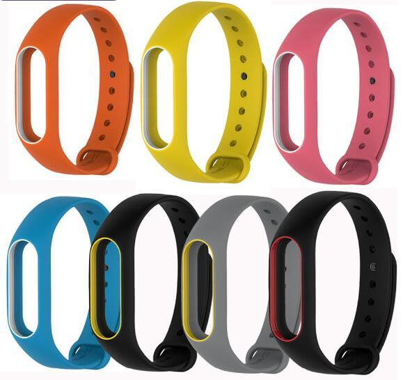 Colorful Silicone Wrist Strap Bracelet Double Color Replacement watchband for Miband 2 Xiaomi Mi band 2 Wristbands Strap Replace