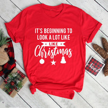 f0fe74453ba5 It beginning to Look A Lot Like Christmas bell graphic t-shirt Christmas  Party funny slogan casual aesthetic shirt red tee top