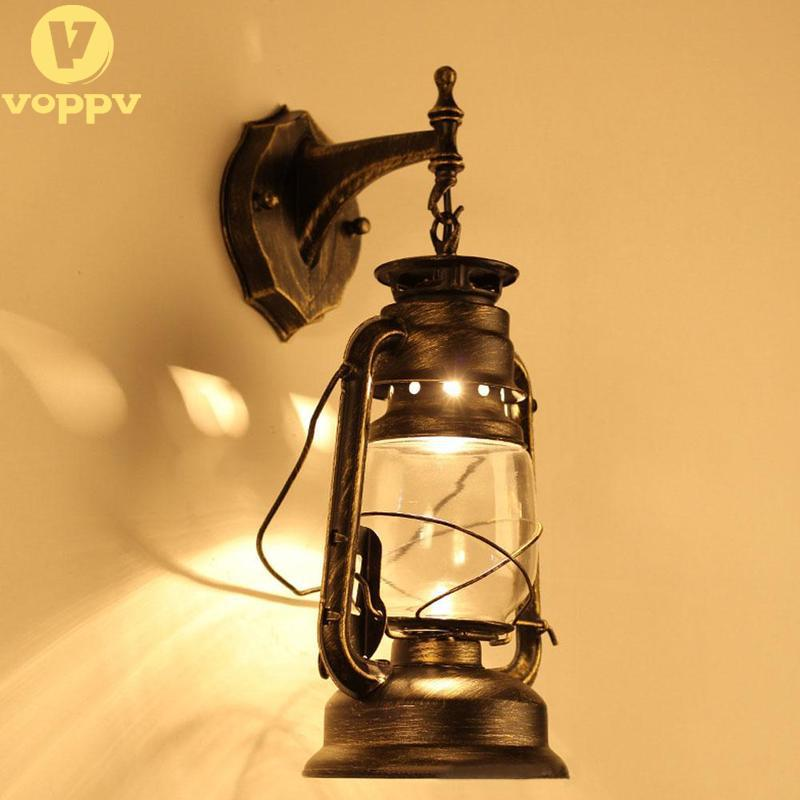 VOPPV Rustic Antique Vintage Style E27 Retro Lantern Wall Lamp Sconce Light Fixture Aisle Balcony Home Decor Wall Lamp EOP0742