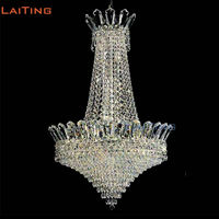 LAITING Dia 56cm Unique Crown Oriental Chandelier with 10 Lights Art Deco Contemporary China Crystal Chandelier LT 71035