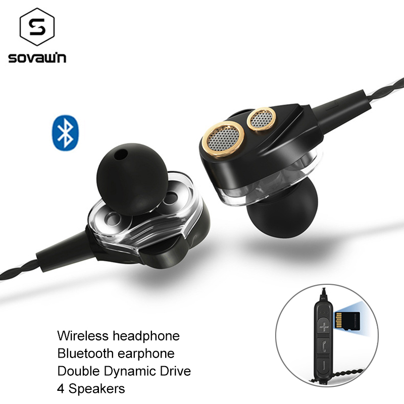 Wireless Headphone Dual Dynamic Drive 4 speakers Stereo Bluetooth earphone Sports Super Bass 6D Surround earphone for iPhone