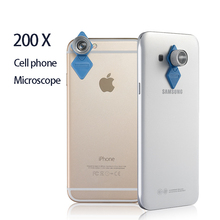 Buy online Universal Cell Phone Lens Mini Magnifier 200X Zoom Pocket Mobile Phone Digital Microscope For IPhone Samsung Xiaomi