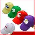 Горячая Бесплатная доставка Новое прибытие мода Аниме 5 цветов Луиджи Super Mario Bros Косплей Взрослый Hat регулируемый Пряжки восьмиугольная кепка