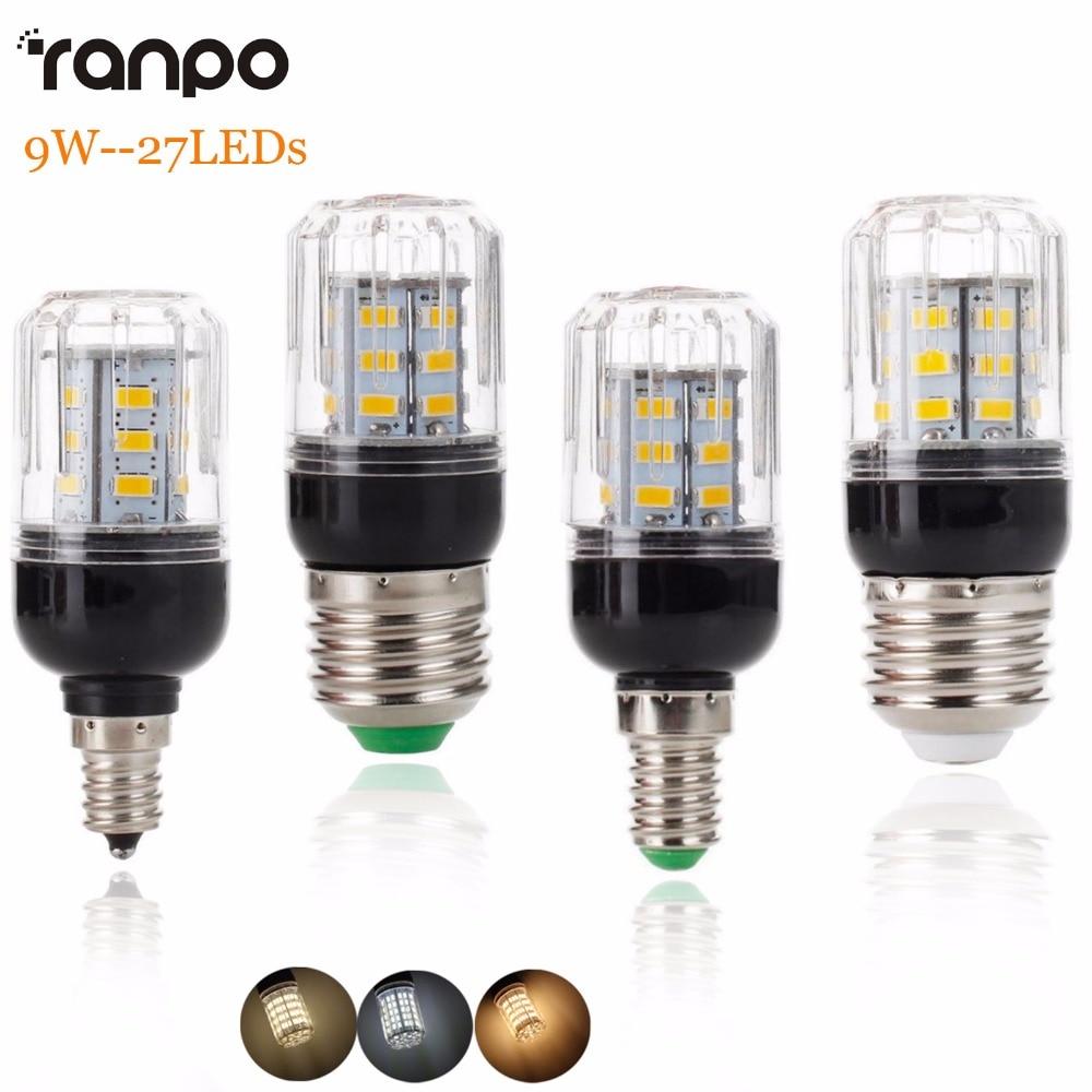 New E27 E14 E12 E26 LED Corn Bulb Light Lamp 5730 SMD 9W 27LEDs Lamprada Home Lighting Warm Cool Neutral White
